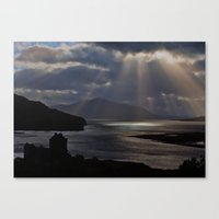 Sun Rays over Eilean Donal Castle Canvas Print