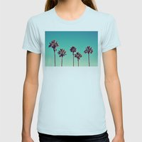 California Palm Trees Womens Fitted Tee Light Blue SMALL