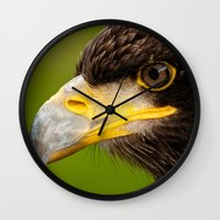Intense Gaze of a Golden Eagle Wall Clock