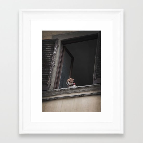 take me with you _ Beagle in a window Framed Art Print
