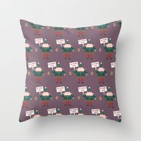 Day 23/25 Advent - Little Helpers on Strike Throw Pillow