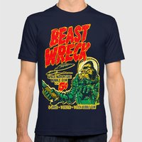 BEASTWRECK ATTACKS! Mens Fitted Tee Navy SMALL