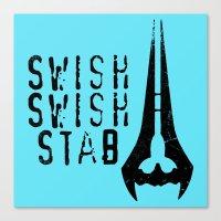Swish, Swish, Stab - Halo Red vs. Blue  Canvas Print