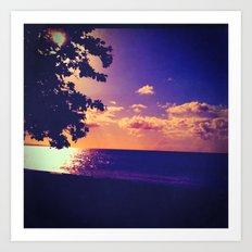 Beach - Violet Sunset Art Print