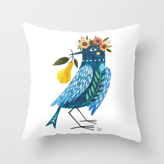 Blue Bird Throw Pillows : BLUE BIRD Throw Pillow by Oana Befort Society6