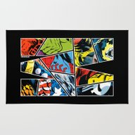 Rug featuring Classic Comic Heroes by Tuditees
