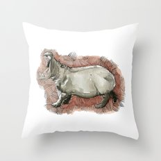 Watercolor Hippo Throw Pillow