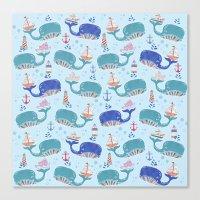 whales in a Row Canvas Print