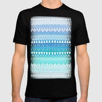 Triangle Gradient Aqua Mix Mens Fitted Tee Black SMALL