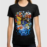 Megaman 2 Womens Fitted Tee Tri-Black SMALL