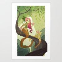 Jungle Mermaid Art Print