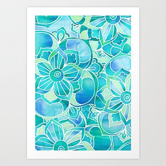 aqua emerald blue turquoise mint green floral. Black Bedroom Furniture Sets. Home Design Ideas
