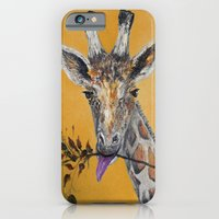 iPhone & iPod Case featuring Giraffe in Orange by RokinRonda
