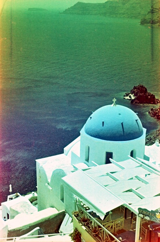 Blue Dome Church, Santorini: Shot with a Nikon FM2 and Revolog 600nm film Canvas Print