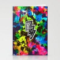 Neon Lightning Stationery Cards