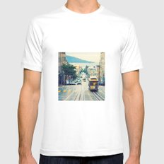 San Francisco Cable Car Mens Fitted Tee SMALL White