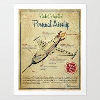 Retro Futuristic, Steampunk Airship Art Print