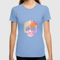 Skull Pink Womens Fitted Tee Tri-Blue SMALL