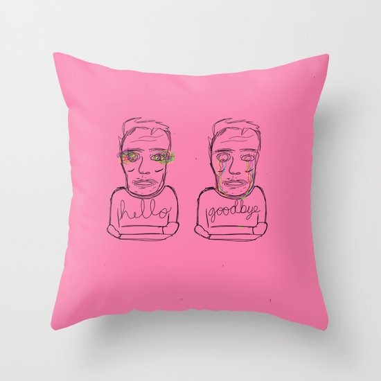 hello + goodbye Throw Pillow