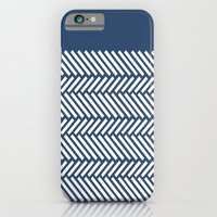 Herringbone Boarder Navy iPhone 6 Slim Case