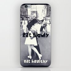 Eat slowly, eat healthy. A PSA for stressed creatives. iPhone & iPod Skin