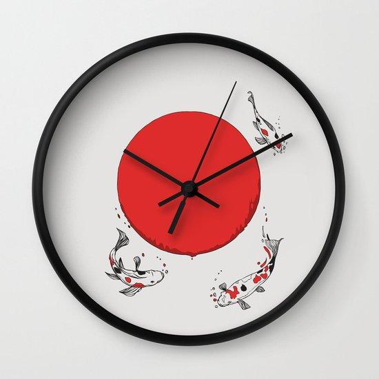 Koi and Sun Wall Clock