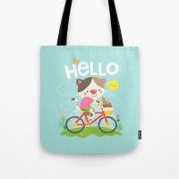Cat On A Bike Tote Bag
