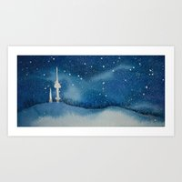 Seoul Winter Night Blues Art Print