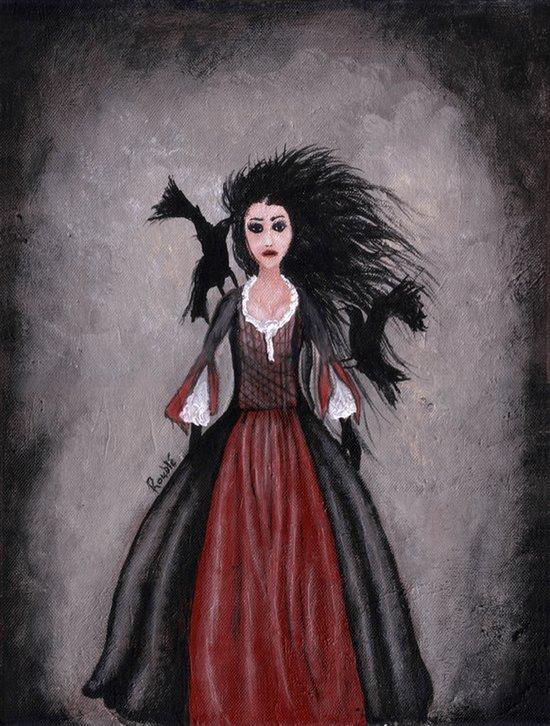 Little Black Haired Girl + Crows Art Print