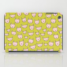 Pink Cats on Green iPad Case