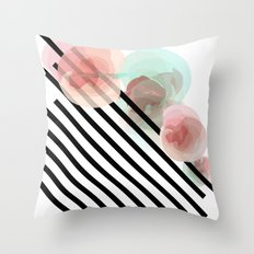 Watercolor Floral with Stripes Throw Pillow