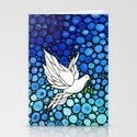 Peaceful Journey - Vibrant white dove by Labor Of Love artist Sharon Cummings. Stationery Cards