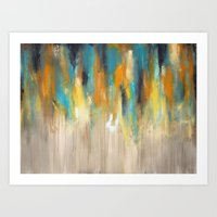 Navy And Gold Drips Art Print