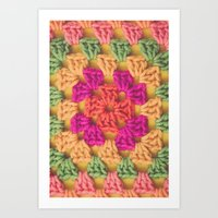 Bright Modern Crochet Pattern Art Print