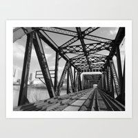 Train Bridge 3 - B&W Art Print