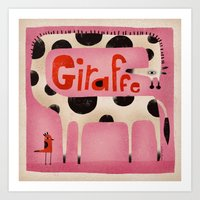 GIRAFFE IN PINK Art Print