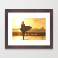 Surfer on the Beach (Woman) Framed Art Print