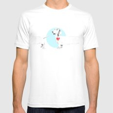 Long dog SMALL Mens Fitted Tee White