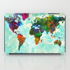Abstract Watercolor World Map iPad Case