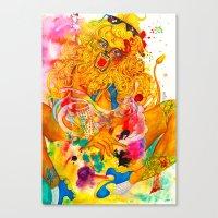 Leo: The Proud Lion (July 23 - August 22) / Gouache Original A4 Horoscope Illustration / Painting Canvas Print