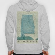 Alabama Map Blue Vintage Hoody