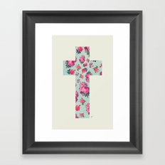 Floral Cross Framed Art Print