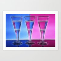 Coloured Artistic Wine G… Art Print