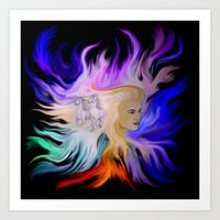 Woman and Horse - Fantasy Rainbow Art Art Print