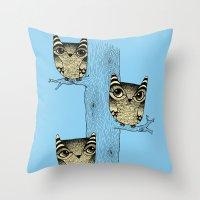 Owls (blue) Throw Pillow