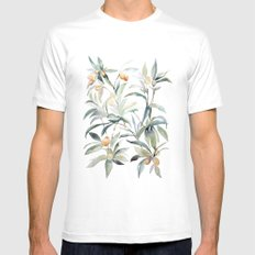 Watercolor Leaves SMALL White Mens Fitted Tee