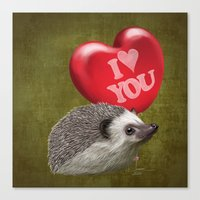 Hedgehog in love with a red balloon Canvas Print