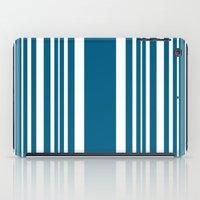 Egyptian Blue and white stripes iPad Case