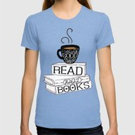 Drink Good Coffee, Read … Womens Fitted Tee Tri-Blue MEDIUM