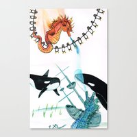 Penguins, whales, seahorses with a Sunken ship Canvas Print